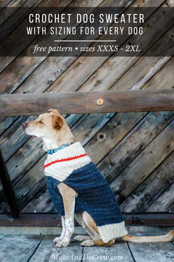 image regarding Dog Coat Sewing Patterns Free Printable identify Straightforward Crochet Canine Sweater - No cost Habit + Manual within 9