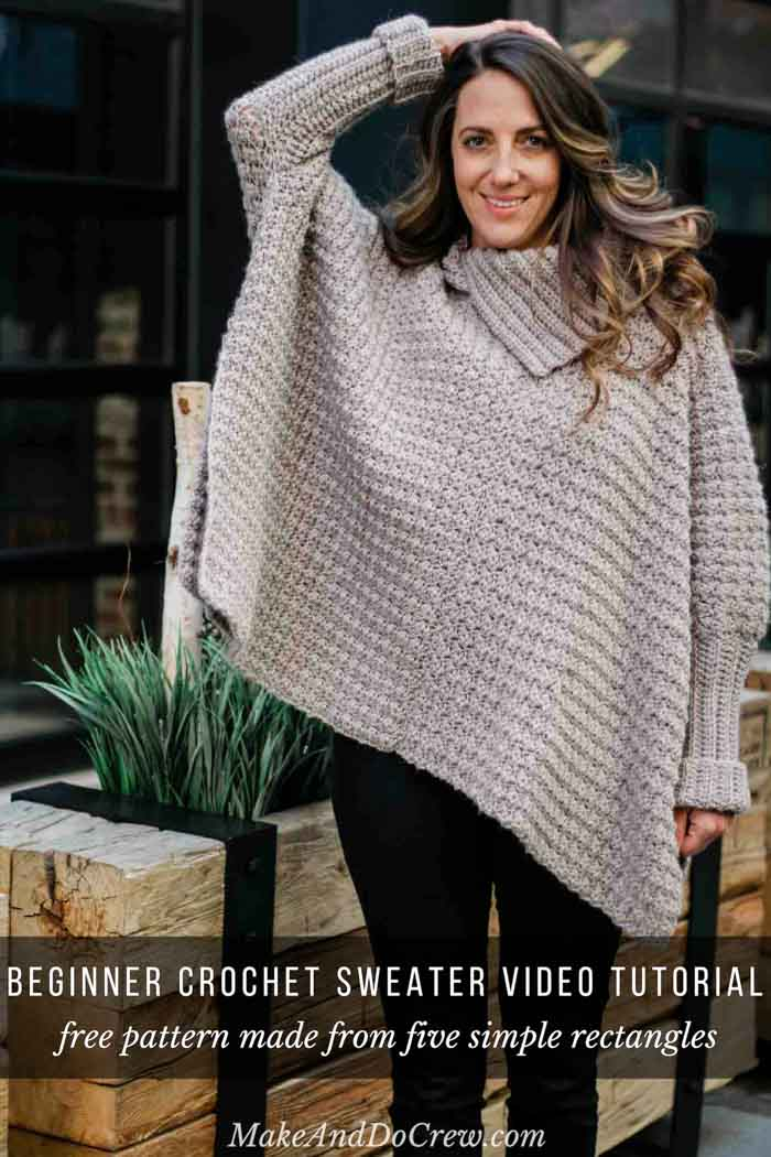 3b5847a0fdb1 Stylish Sweater-Style Crochet Poncho Video Tutorial + Free Pattern