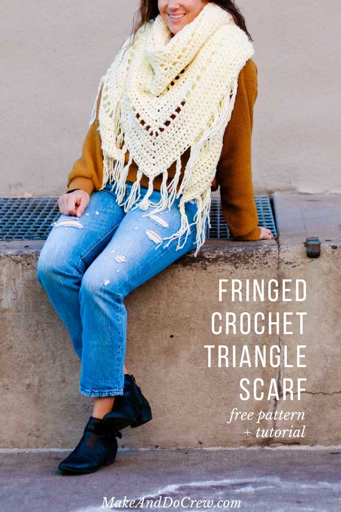 This fringed boho chunky crochet triangle scarf pattern + tutorial is good for beginners and perfect for fall layering.