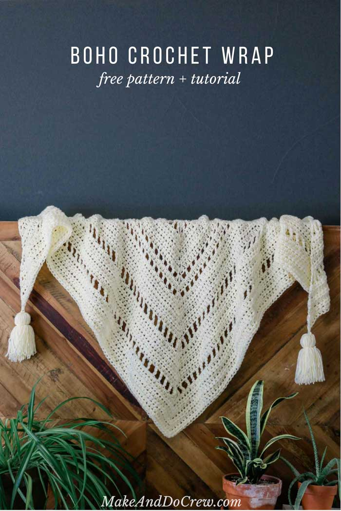 The intriguing repeat of basic stitches in this chunky crochet triangle scarf will hold the interest of beginning and more experienced crocheters alike. Great boho crochet pattern!