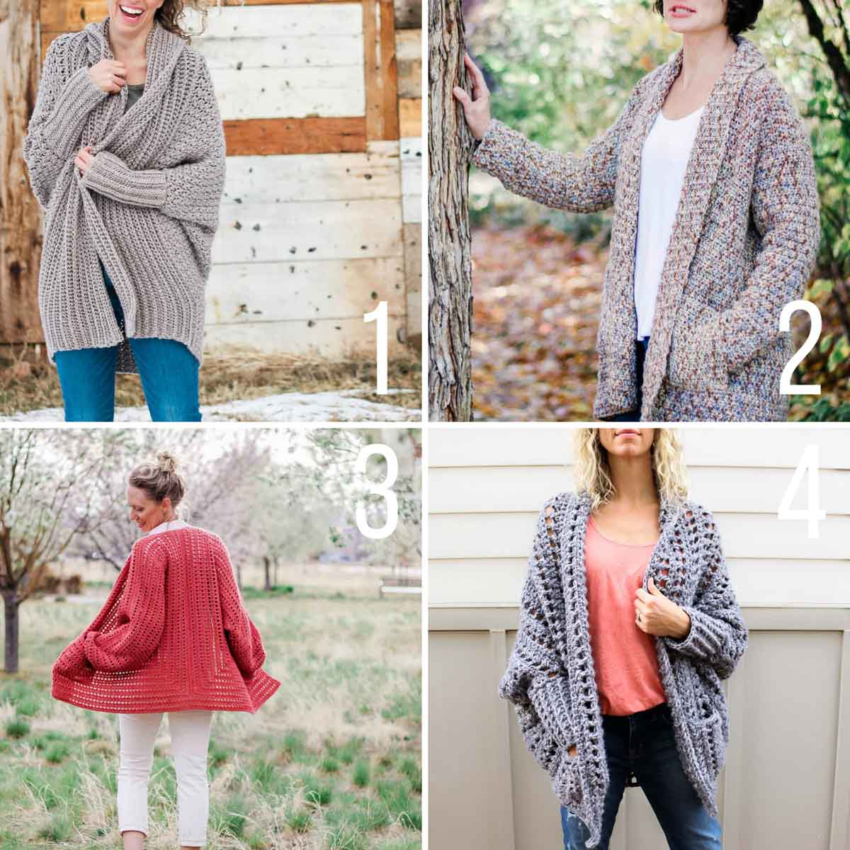 Grid of four easy crochet sweater patterns that are perfect for beginners.