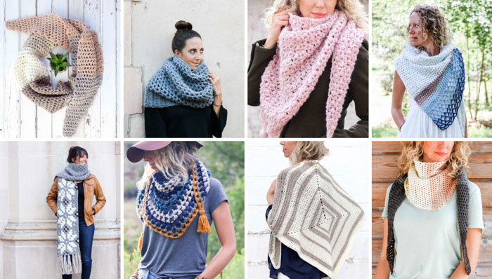 Free crochet scarf patterns from Make and Do Crew including lots of cowls, shawls and triangle scarves.