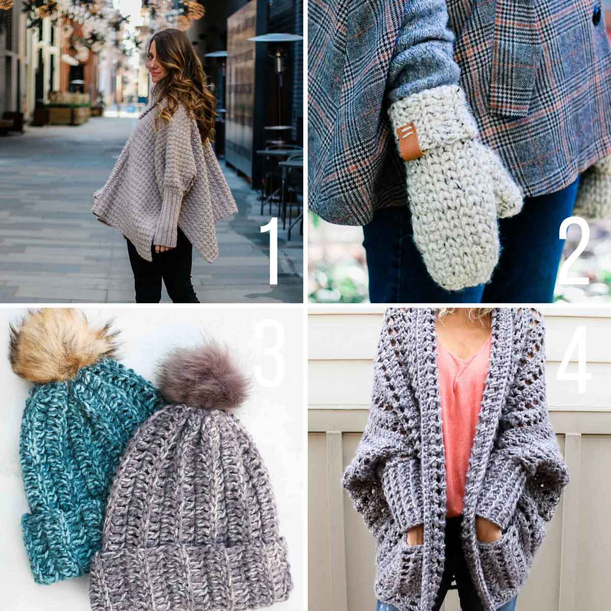 Grid of four free crochet patterns for cold weather, including a poncho-style sweater, a chunky cardigan, mittens and an easy beanie.