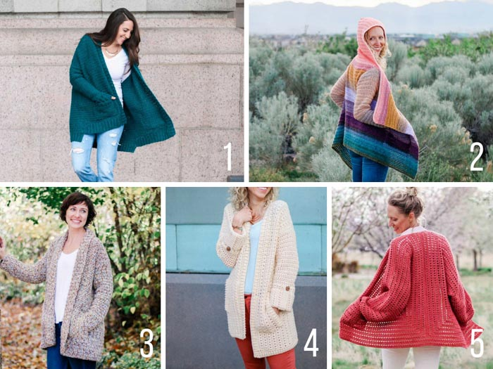 Free crochet cardigan patterns from Make and Do Crew featuring Lion Brand yarns. All these sweaters have pockets too!