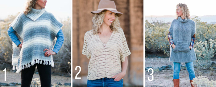 Modern, free crochet poncho patterns with tutorials from Make & Do Crew. Featuring Lion Brand Cotton Bamboo, Scarfie and Touch of Alpaca yarns.