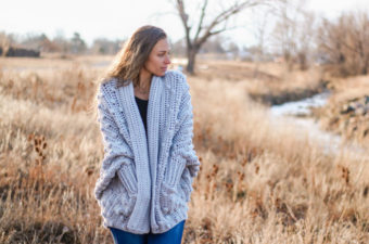 Haven Cardigan free crochet bobble stitch sweater from Make & Do Crew