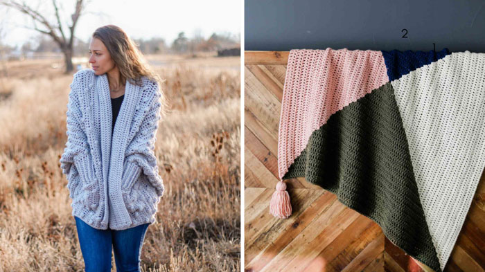 Two new free crochet patterns to make with Lion Brand's Color Made Easy yarn including a bobble stitch sweater and a modern crochet baby blanket.