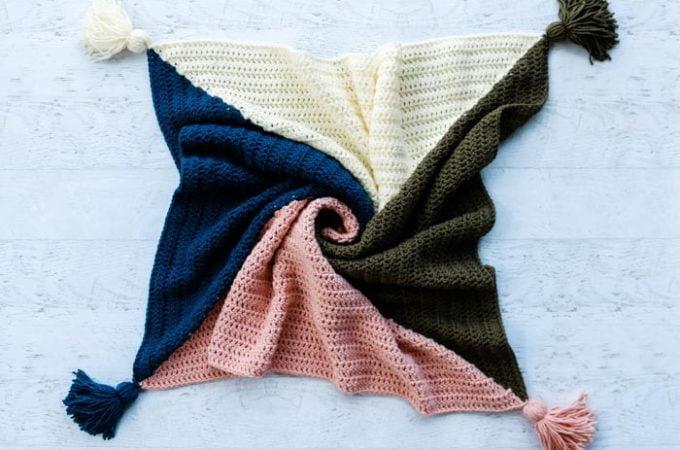 4 Color Modern Crochet Square Blanket Pattern (Free!)