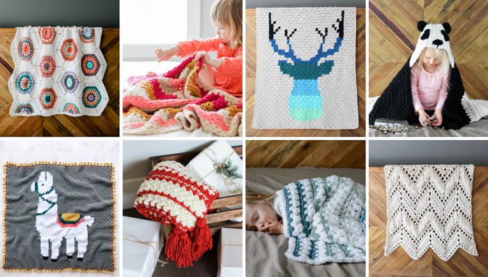 Free crochet afghan patterns including baby blankets, granny stitch blankets, corner to corner graphgans and hooded blankets. All free patterns from Make & Do Crew.