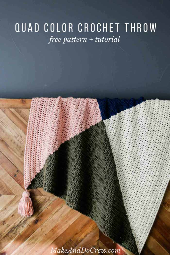 Easy and free four color crochet square blanket pattern with baby and throw sizes included. Perfect for modern nurseries or decor.