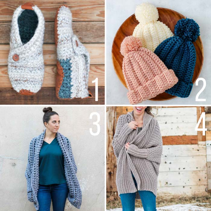 Free crochet patterns from Jess Coppom at Make and Do Crew including the Sunday Slippers, the Dwell Sweater, the Habitat Cardigan and the 1 Hour Beanie.