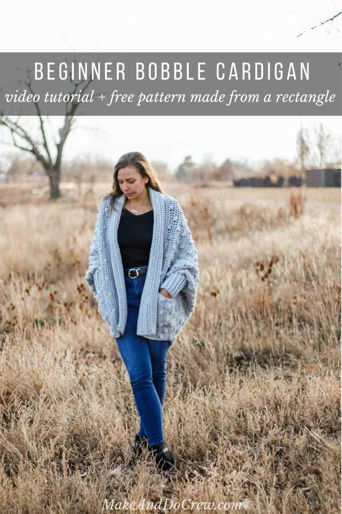 Follow this step by step how to crochet a sweater video tutorial to make your own bobble stitch cardigan from a simple rectangle.