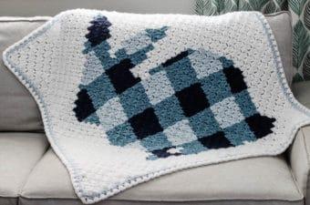 Plaid corner to corner crochet bunny rabbit blanket pattern with a pom pom tail. Free pattern using Lion Brand Vanna's Choice yarn.