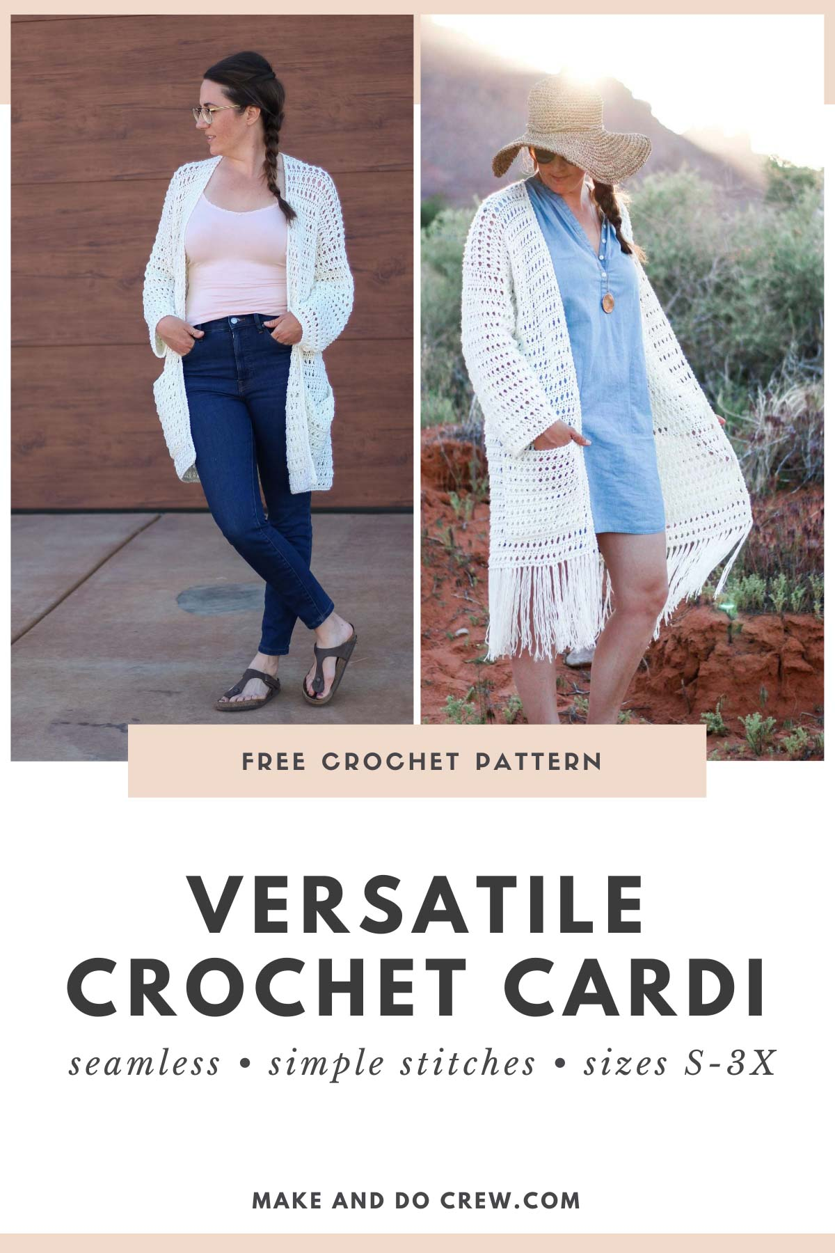 Two contrasting images of a woman wearing a crochet long cardigan styled two different ways. One sweater has boho fringe and one has a more polished look.