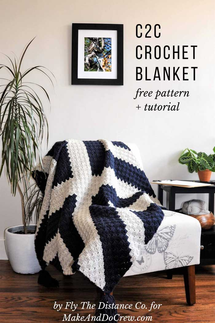 "This modern ""X Marks the Spot"" corner to corner crochet blanket adds a graphic touch to any room. Make it in black and white or soften the colors for a modern nursery. Free graphgan pattern and tutorial!"