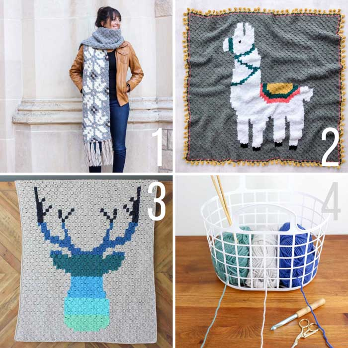 Free corner to corner crochet patterns including a super scar, a llama c2c graphgan and a deer antler blanket.