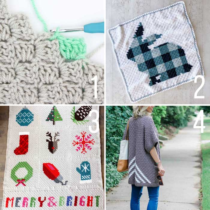 Four free c2c crochet patterns including a modern Christmas c2c graphgan, a c2c rabbit blanket and a c2c cardigan.