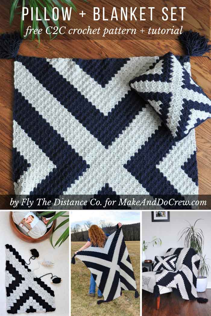 Modern corner to corner crochet blanket and pillow set. Change up the colors for a baby nursery! Free pattern and tutorial.