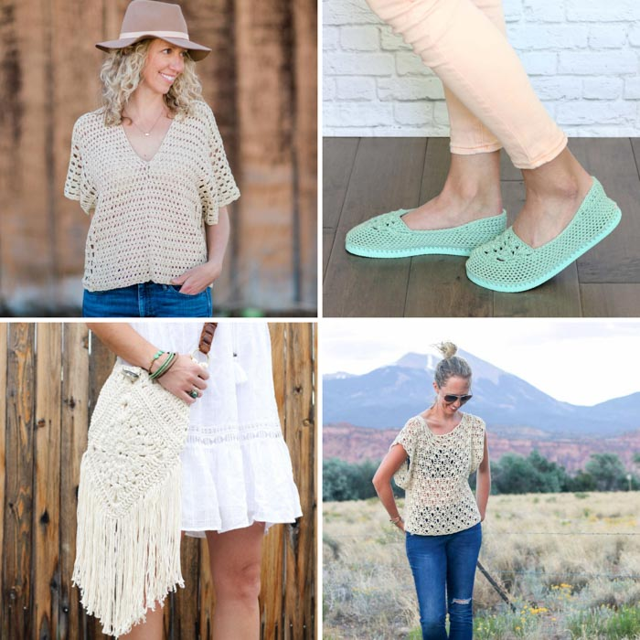 Free summer crochet patterns including a boho purse, crochet tops and crochet slippers with flip flop soles.