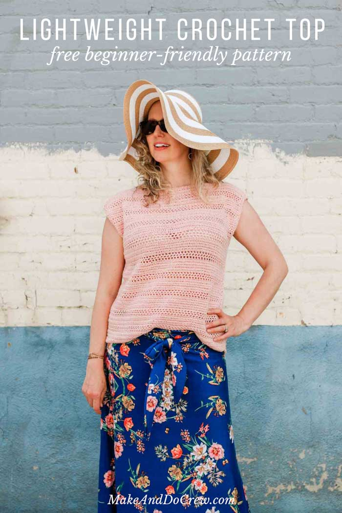 If you can crochet a rectangle, you can make this easy lightweight top! Simple stitches, minimal counting--super easy beginner project. Free pattern!