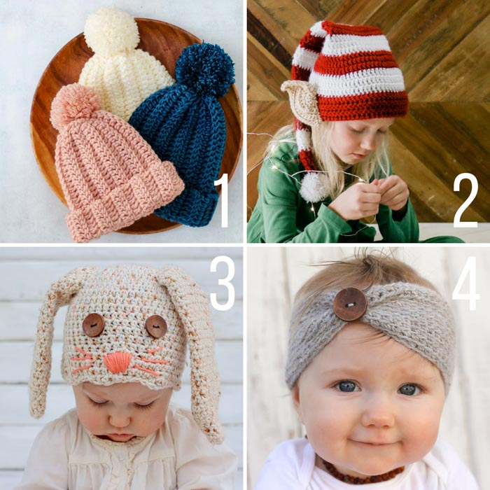 4 free crochet patterns featuring a super easy child's beanie, a Santa's Helper elf hat, a floppy-eared bunny hat, and a soft baby headband with button.