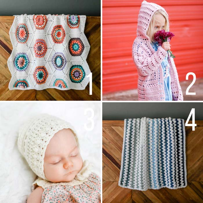 4 free crochet patterns + tutorials, including a hexagon blanket, a child's cardigan, a classic baby bonnet, and a soft, squishy baby blanket.