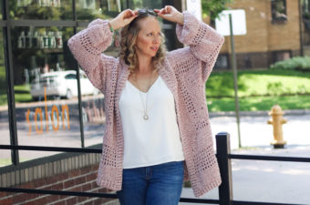 Crochet hexagon cardigan pattern made with Lion Brand Vel-Lux velour yarn. Free pattern + tutorial.