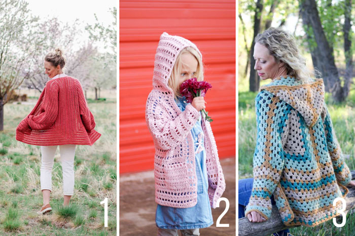 A grid of three free crochet sweaters made from hexagons including two sweater patterns for women and pattern for kids.