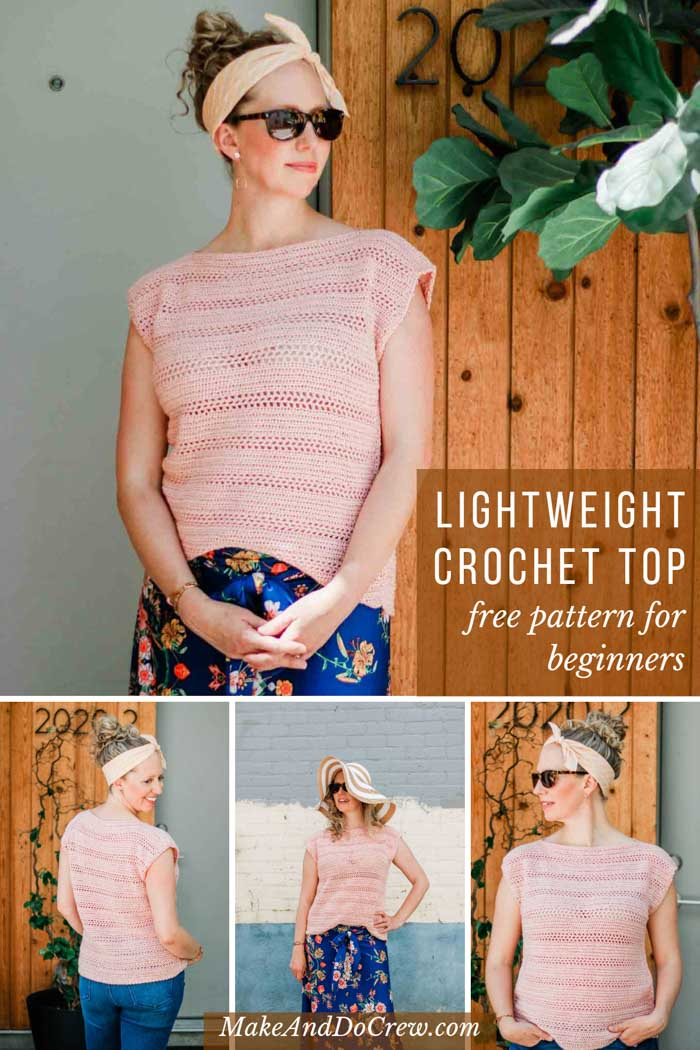 Easy beginner short-sleeved crochet top pattern, perfect for spring and summer. Free pattern featuring Lion Brand Beautiful You.