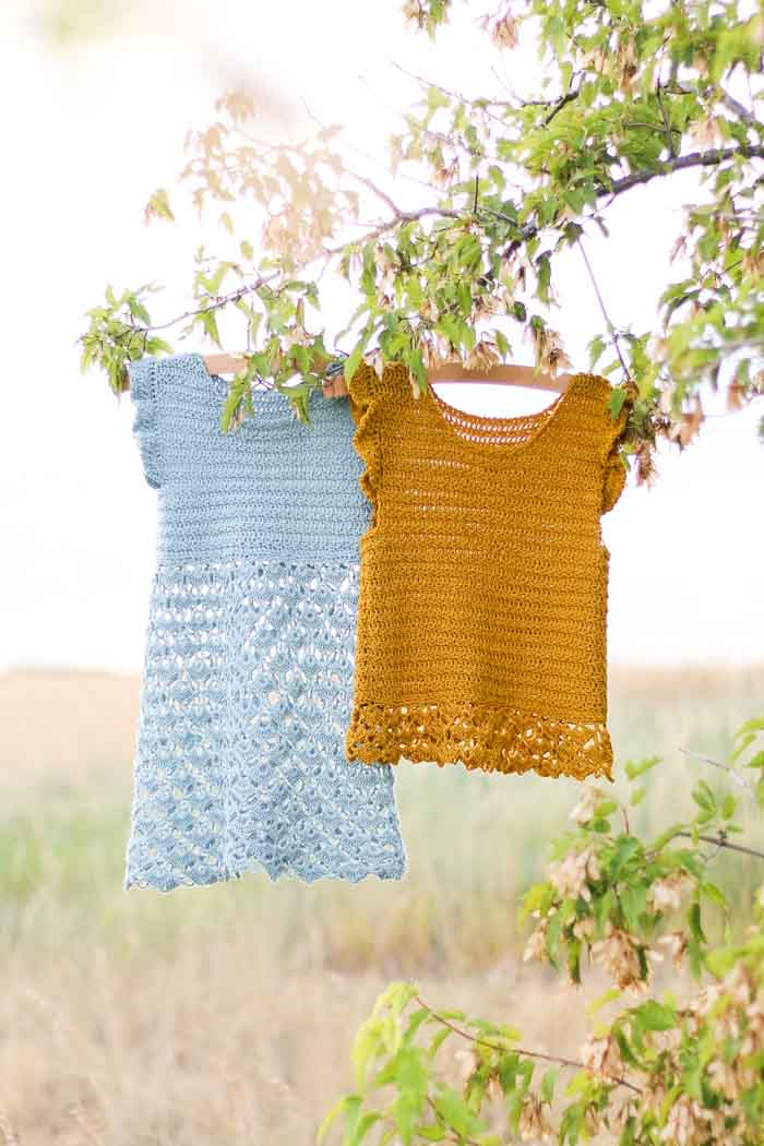 Free crochet dress and top pattern for girls. (Sizes toddler through teen.) Video tutorials!