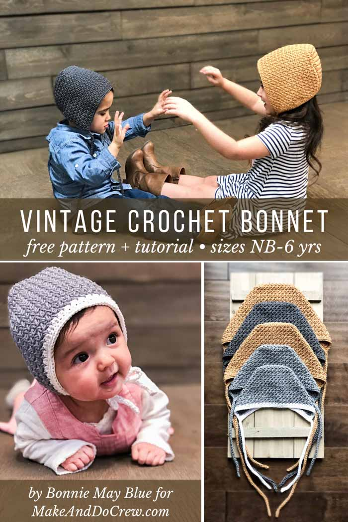 This vintage-style easy crochet baby bonnet is gender neutral and makes a perfect baby shower gift. Free pattern and tutorial in sizes baby-6 yrs.