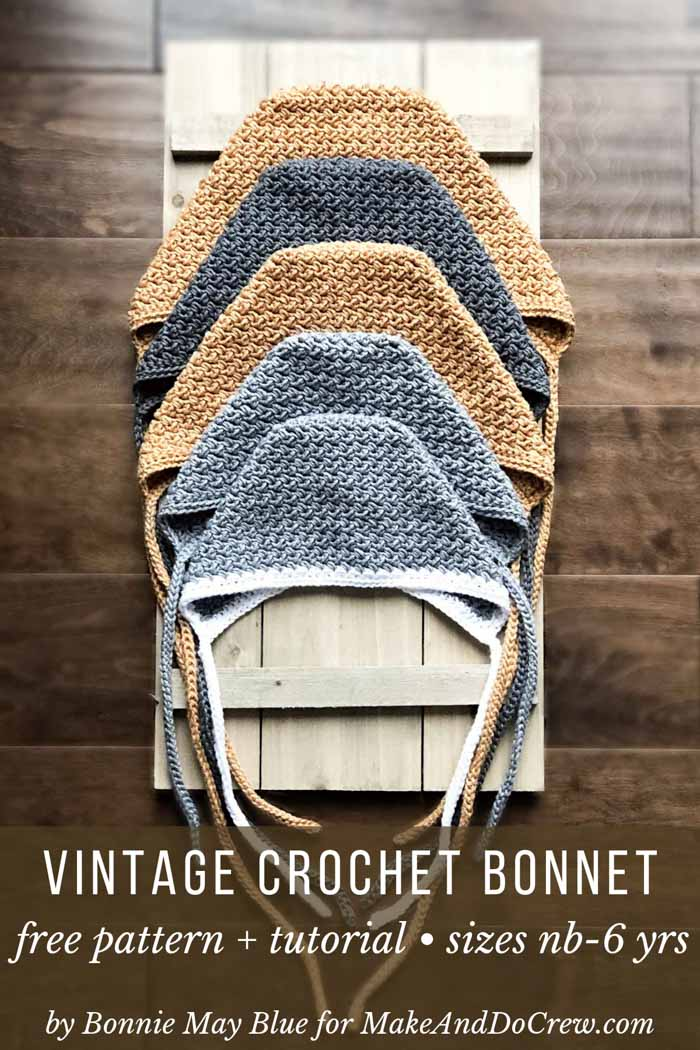 This vintage crochet bonnet pattern is perfect for boys or girls. Gender neutral free pattern + tutorial featuring Lion Brand 24/7 Cotton.