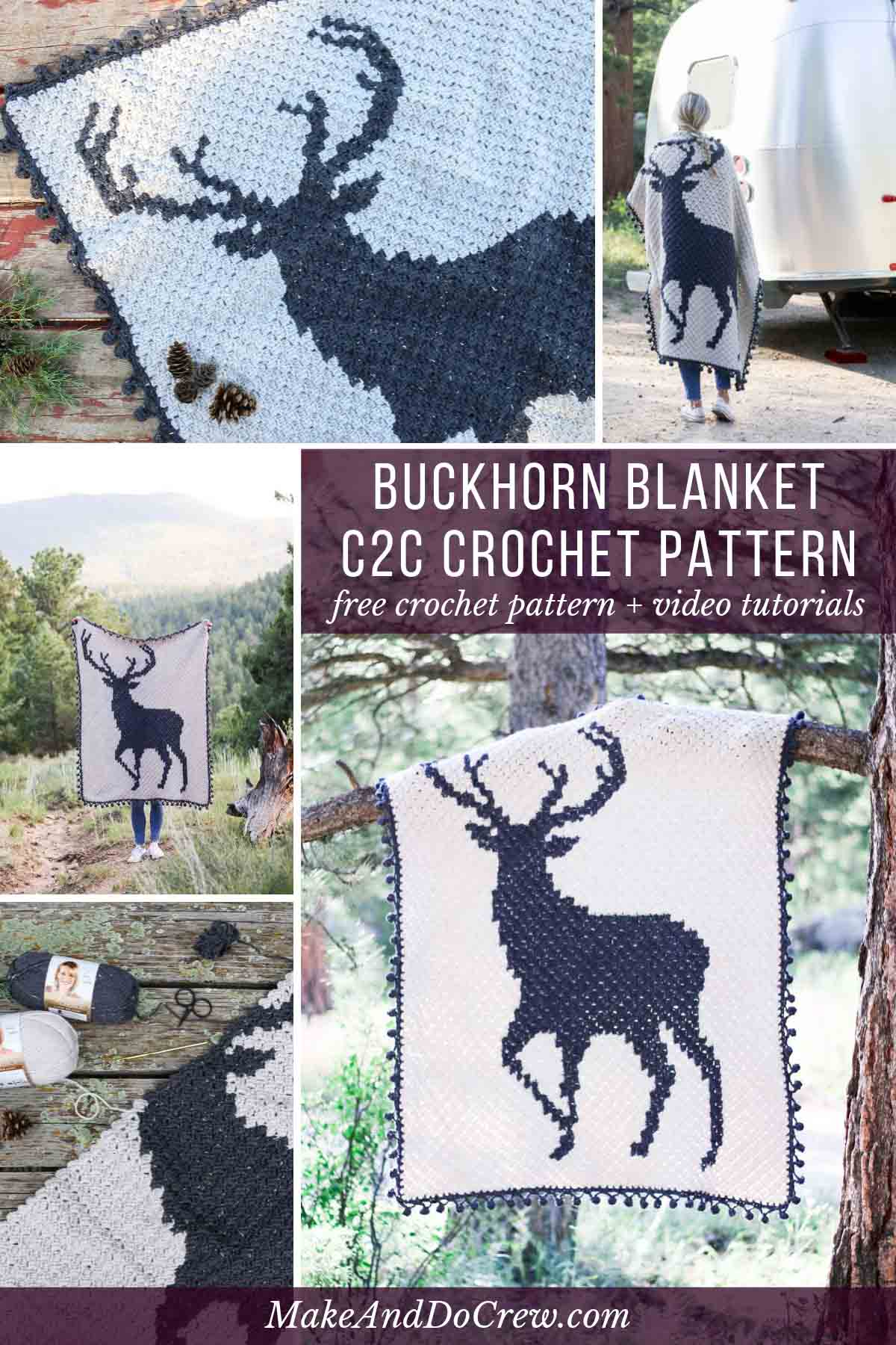 This corner to corner crochet buck graphgan is perfect for Christmas, a rustic baby nursery or as a gift for your favorite hunter. Free c2c afghan pattern and video tutorials.