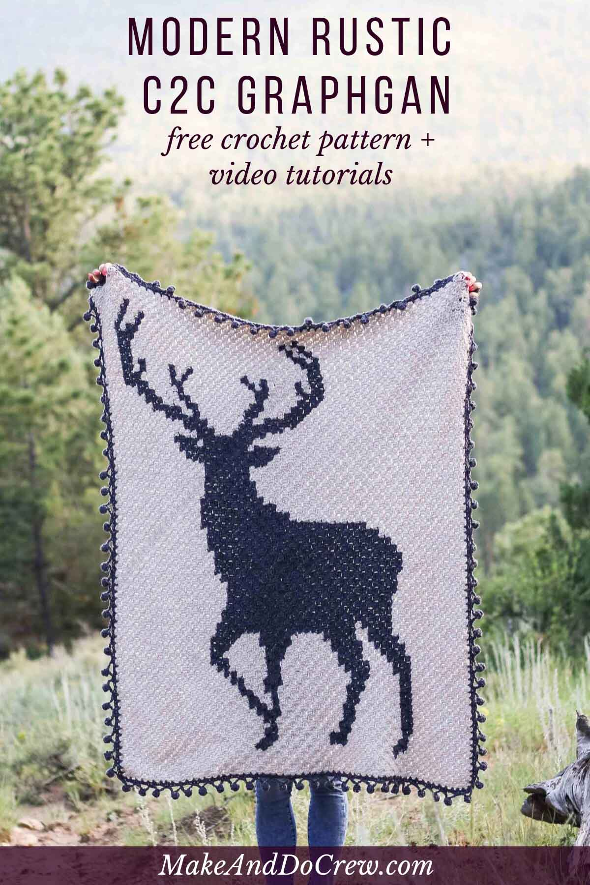 This c2c crochet deer graphgan is perfect for Christmas, a forest-themed baby nursery or as a gift for your favorite hunter. Free blanket pattern and video tutorials.