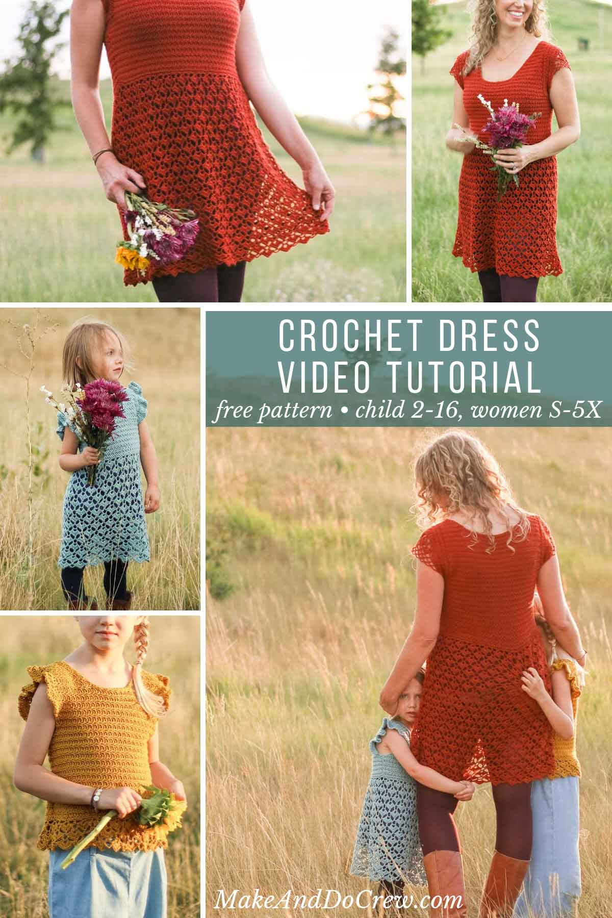 This free crochet dress pattern for ladies and children is easy to customize. Follow the video tutorial for step-by-step visual instructions.