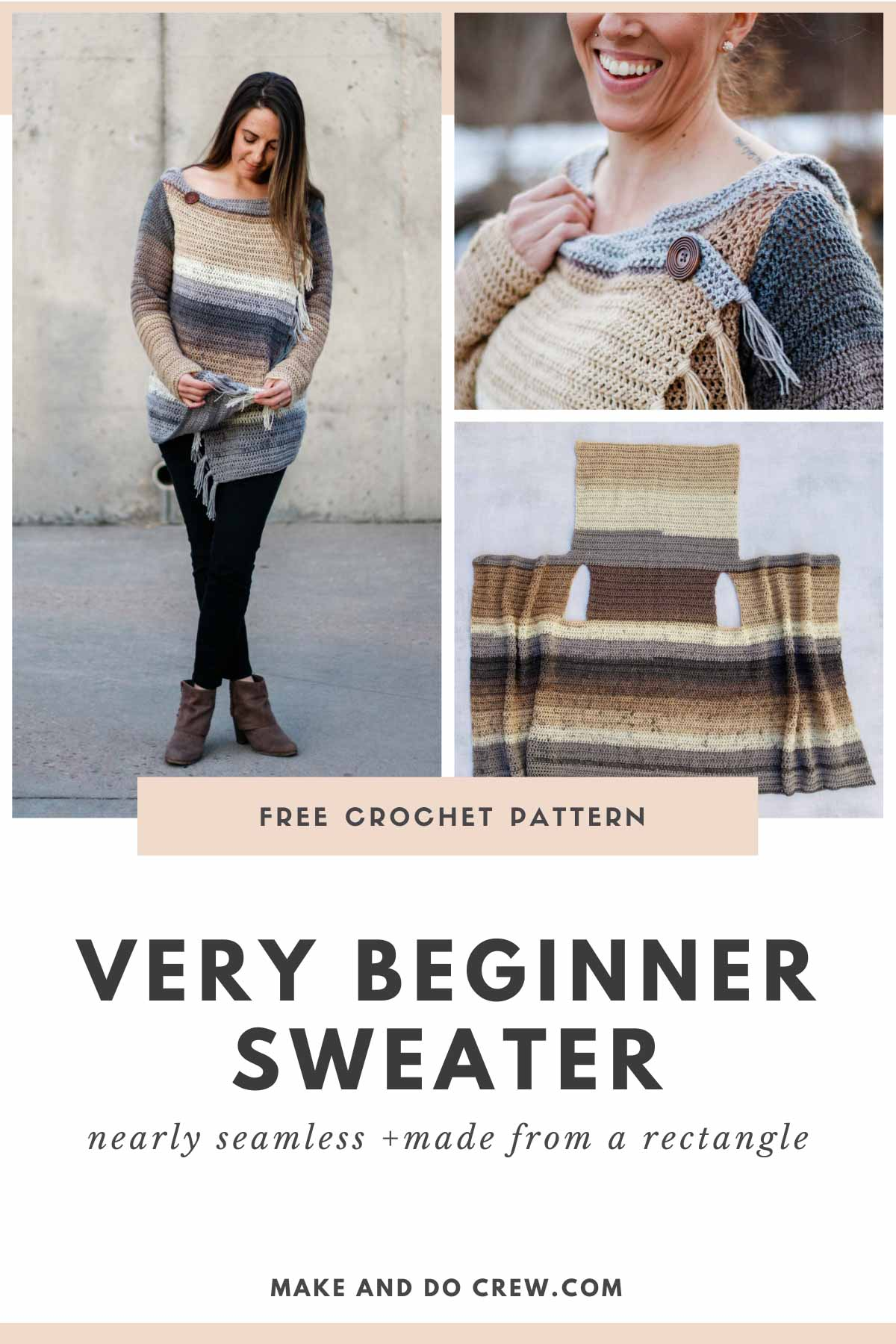 The main body of this free crochet sweater pattern with a hood is worked in one piece, making it almost seamless and very beginner-friendly.