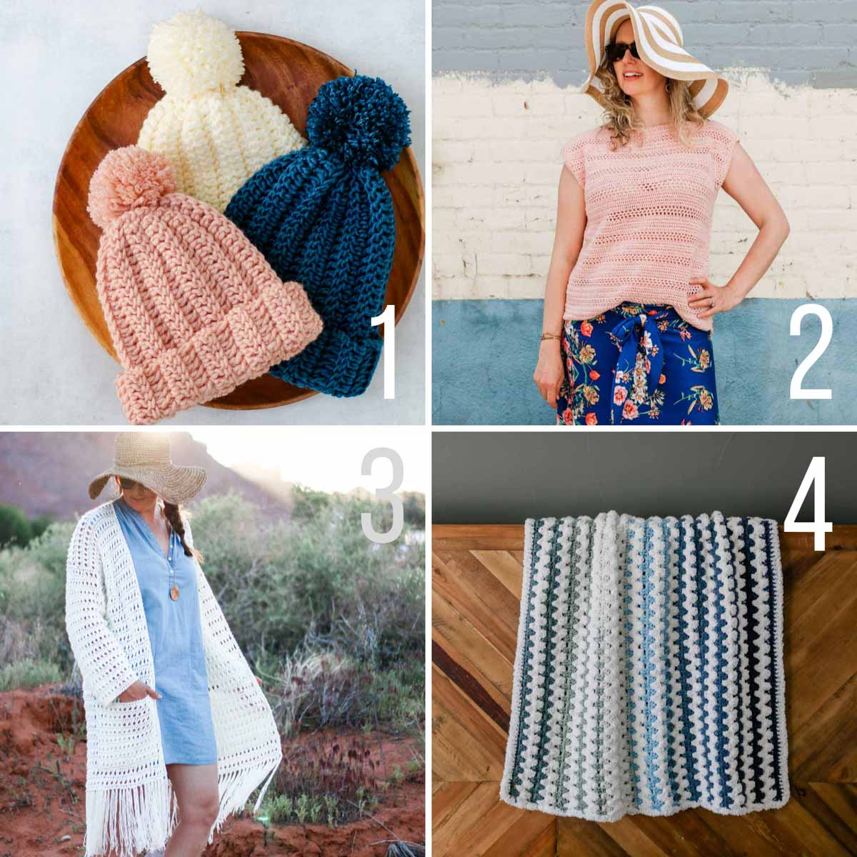 Beginner friendly crochet patterns, including a crochet beanie, a crochet top, a long crochet cardigan with fringe, and a soft crochet baby blanket.