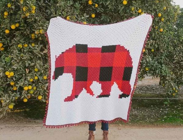 Plaid bear corner-to-corner crochet blanket free pattern.
