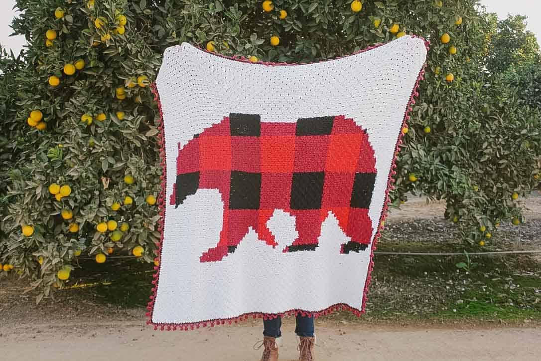 Modern Rustic C2c Crochet Bear Blanket Free Pattern By E Claire Makery Make Do Crew