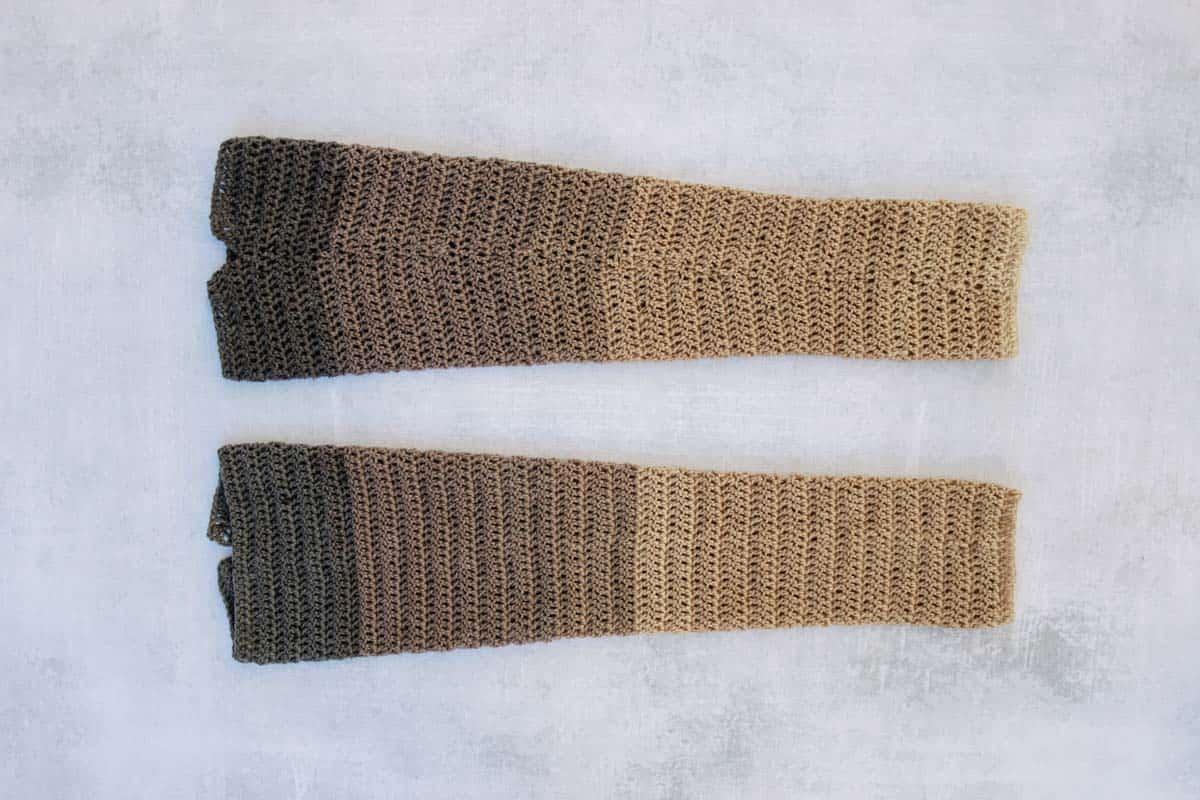 Easy crochet sweater sleeves made from Lion Brand Cupcake (Mandala) yarn.