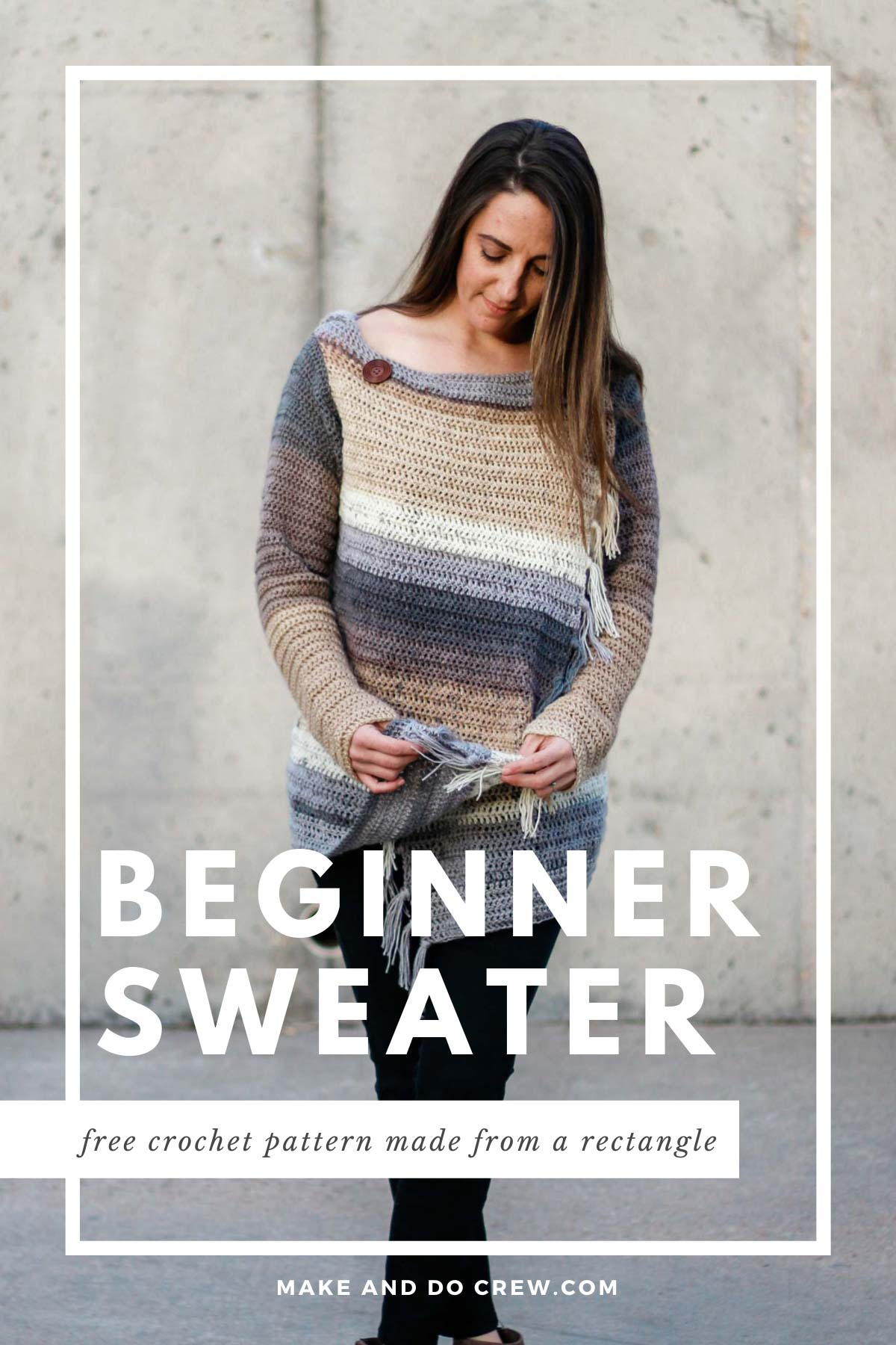 This flowy, stylish crochet sweater pattern for beginners is made from a simple rectangle! Free pattern and tutorial using yarn cakes.