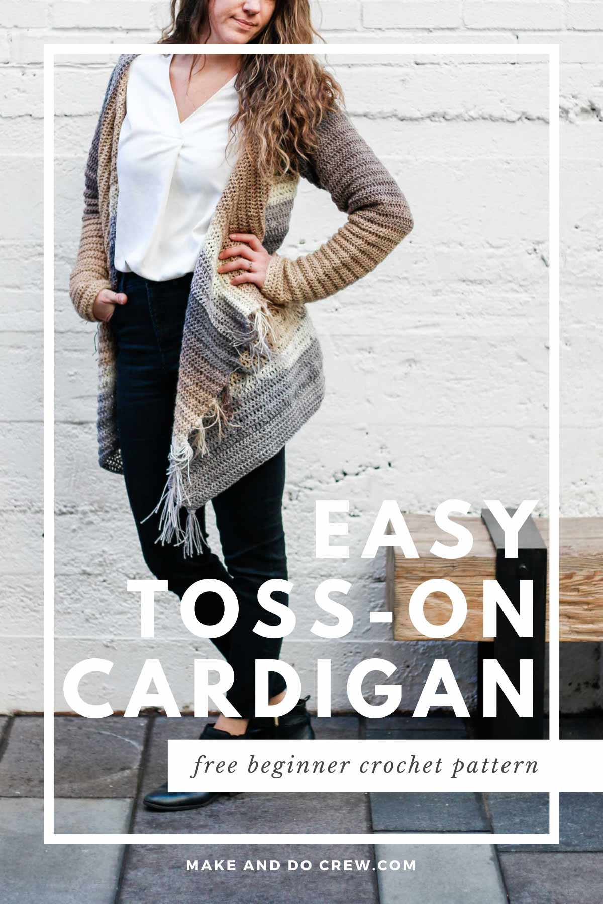 With a hood, fringe and subtle stripes, this is the only crochet cardigan you need! Beginner friendly tutorial.