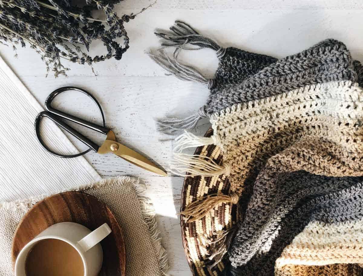 """In progress boho crochet sweater pattern with fringe. (Lion Brand Cupcake yarn in the color """"Coffee Break."""")"""