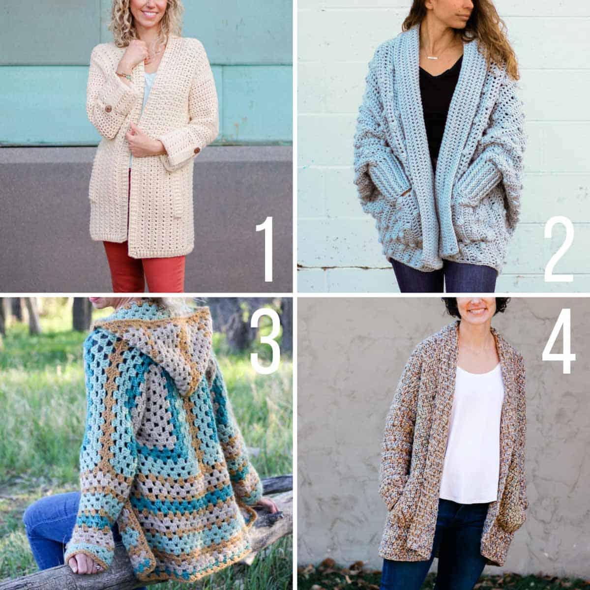 Free crochet cardigan patterns made using Lion Brand yarns.