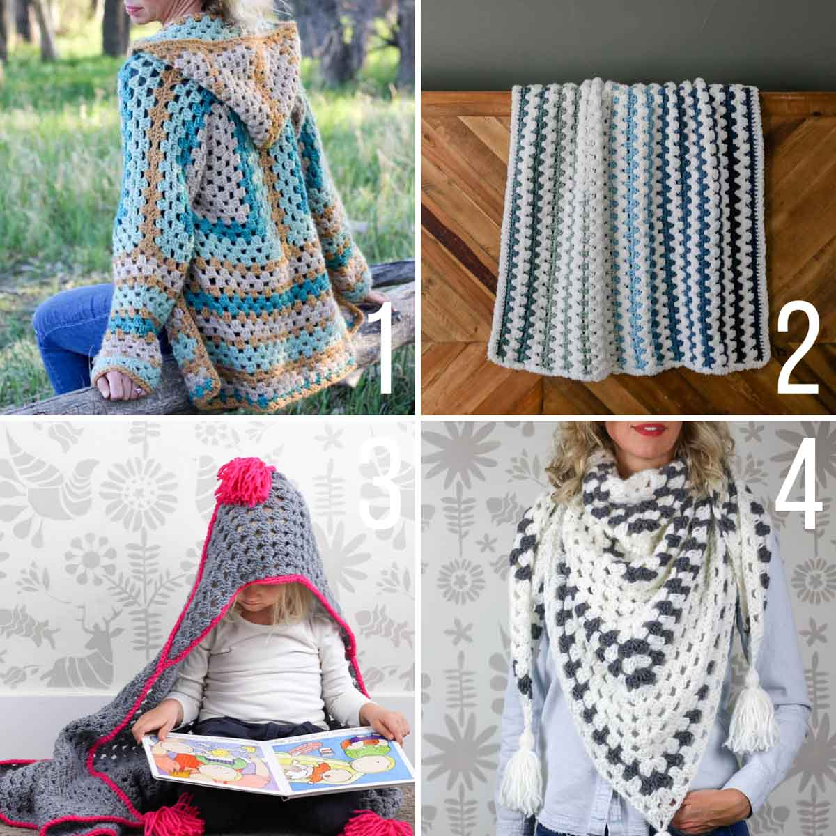 Four granny stitch crochet patterns including a hooded blanket, a cardigan, a shawl and a baby blanket.