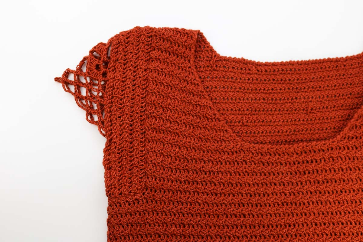 Close-up of cap sleeve option in Idlewild Dress crochet pattern.