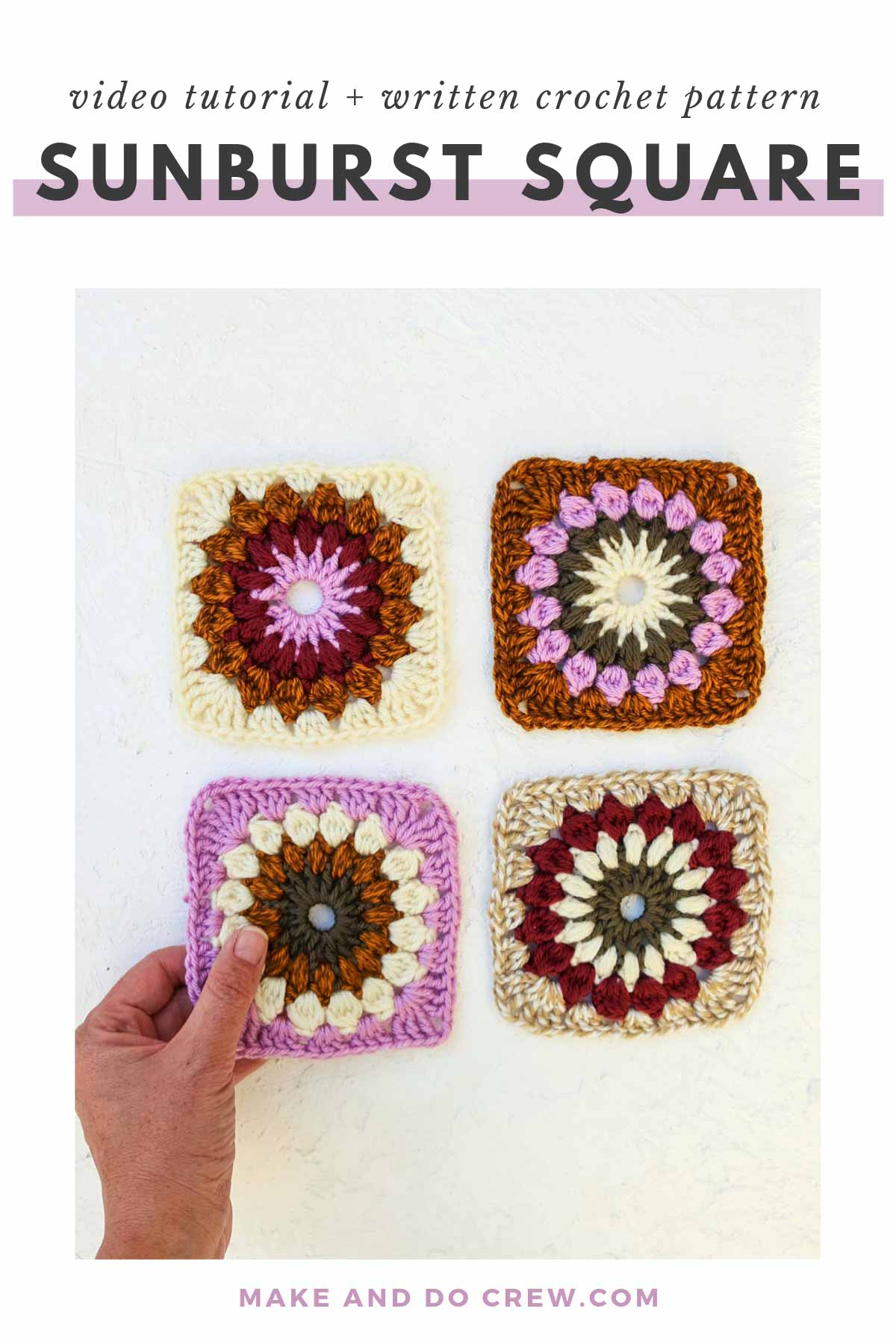 Learn how to make a textured sunburst granny square crochet pattern by following the written instructions and step-by-step video tutorial. This type of crochet granny square is perfect for afghans, jackets, sweaters and baby projects!