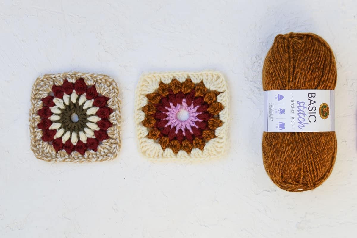 Sunburst granny square crochet pattern + tutorial made from Lion Brand Basic Stitch Anti-Pil yarn.