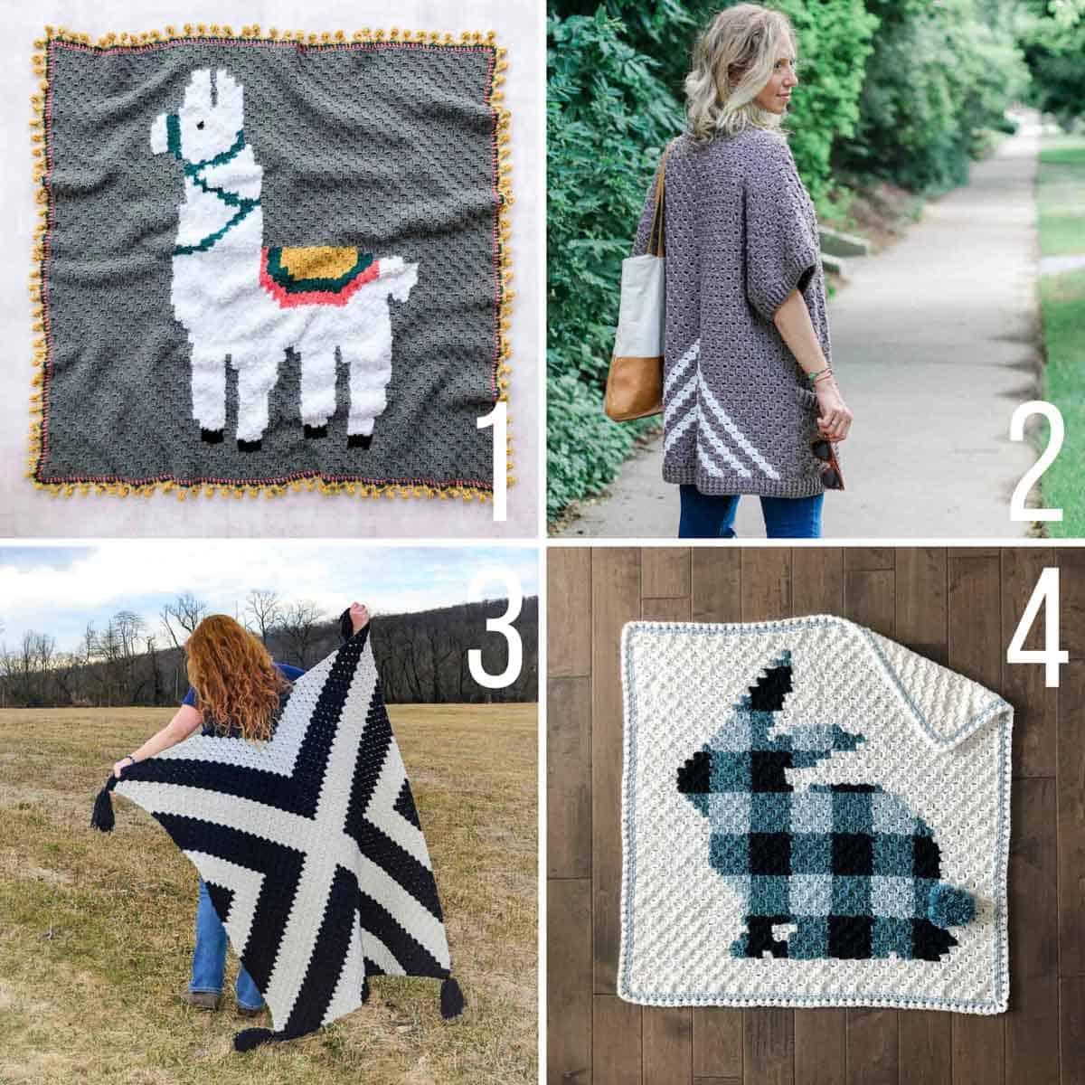 A grid of four c2c crochet (corner to corner) crochet patterns featuring Lion Brand yarn.