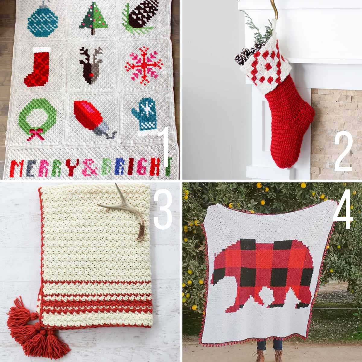 Four free Christmas crochet patterns made with Lion Brand Yarn.